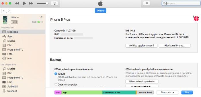 come trovare IMEI iPhone iTunes