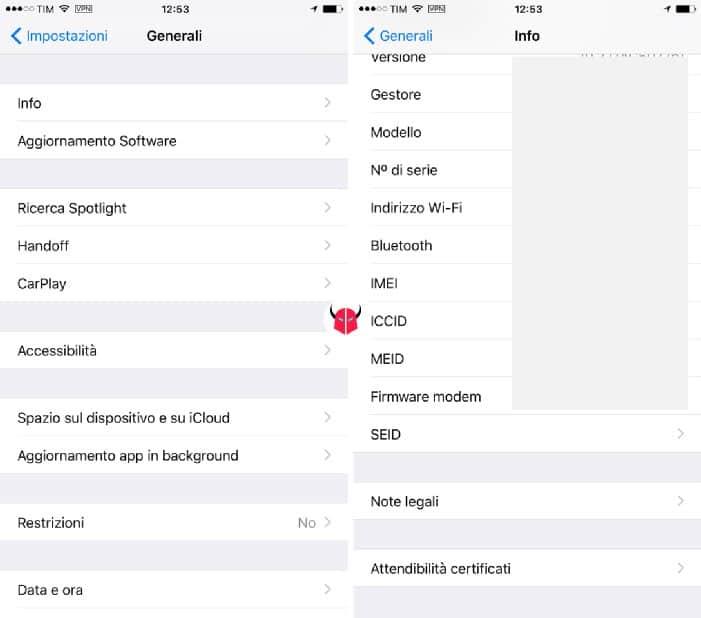 come trovare IMEI iPhone impostazioni iOS