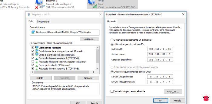 risolvere configurazione IP non valida WiFi Windows 10 IP statico