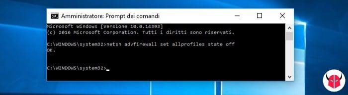 risolvere configurazione IP non valida WiFi Windows 10 firewall
