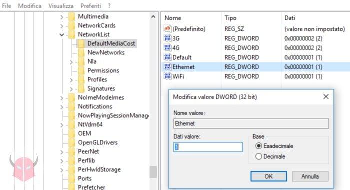 come bloccare aggiornamenti Windows 10 connessione a consumo ethernet registro