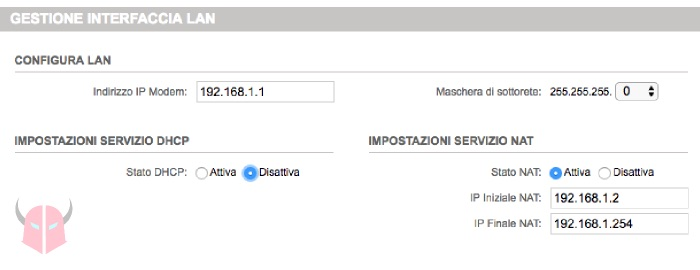 come disattivare DHCP router impostazioni LAN TIM