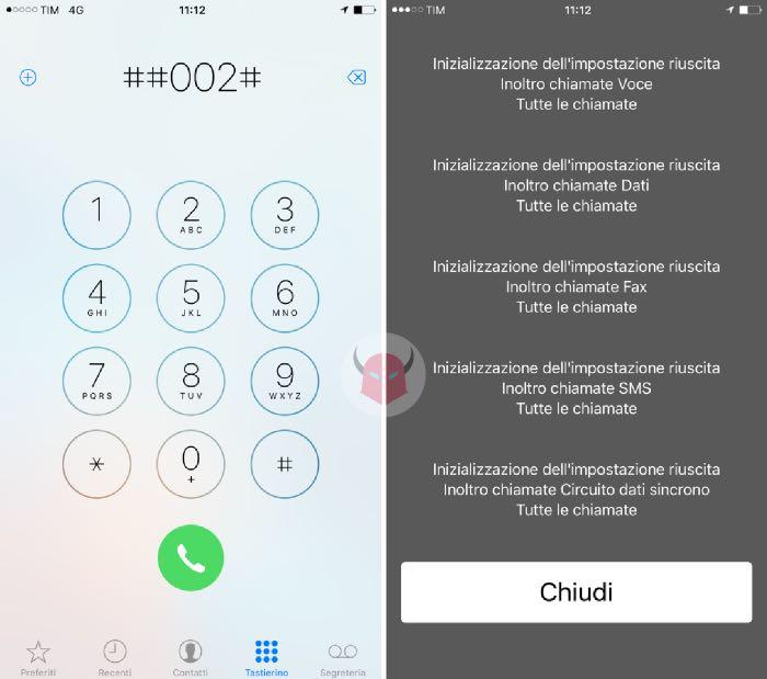 come disattivare segreteria telefonica iPhone codice tastierino