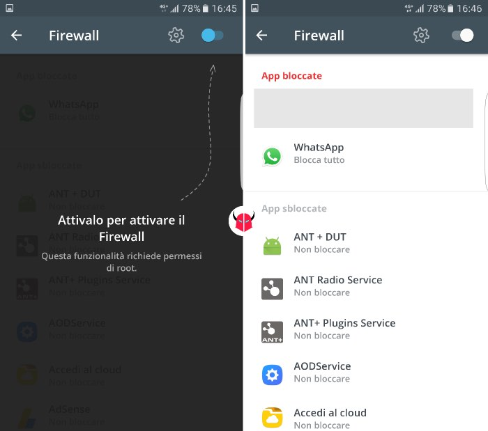 come disconnettere WhatsApp su Android Firewall