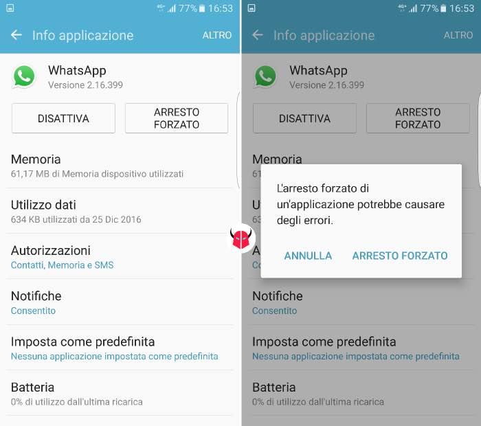 come disconnettere WhatsApp su Android chiusura applicazione