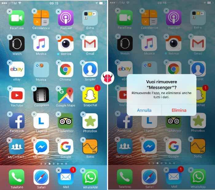 come disinstallare Facebook Messenger da iPhone rimuovere applicazione
