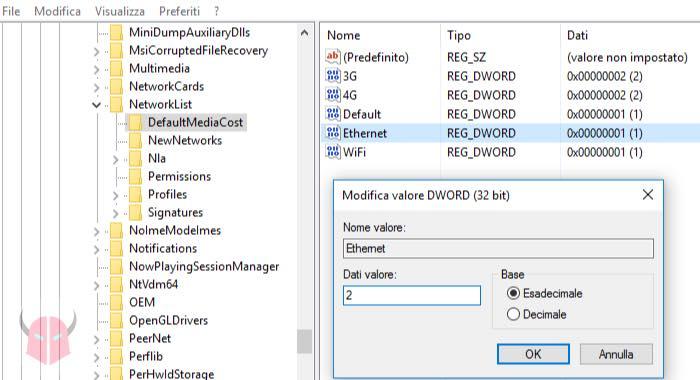 come impostare connessione a consumo Windows 10 Ethernet