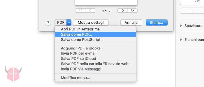come salvare in PDF su Mac schermata di stampa
