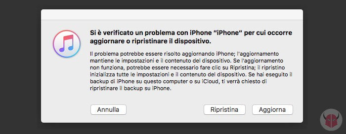 cosa fare se iPhone si blocca ripristino con iTunes