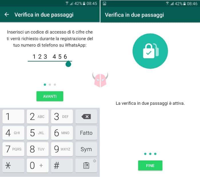 come attivare verifica in due passaggi WhatsApp codice di accesso