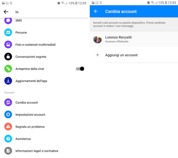 come cambiare account su Facebook Messenger smartphone