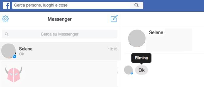come cancellare messaggi da Facebook Messenger su computer con Facebook