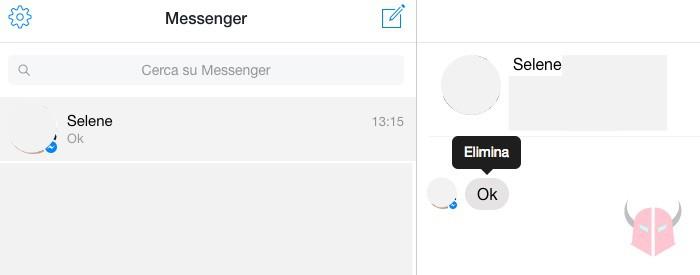 come cancellare messaggi da Facebook Messenger su computer con Messenger Web
