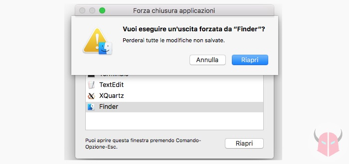 come chiudere Finder su Mac riapertura