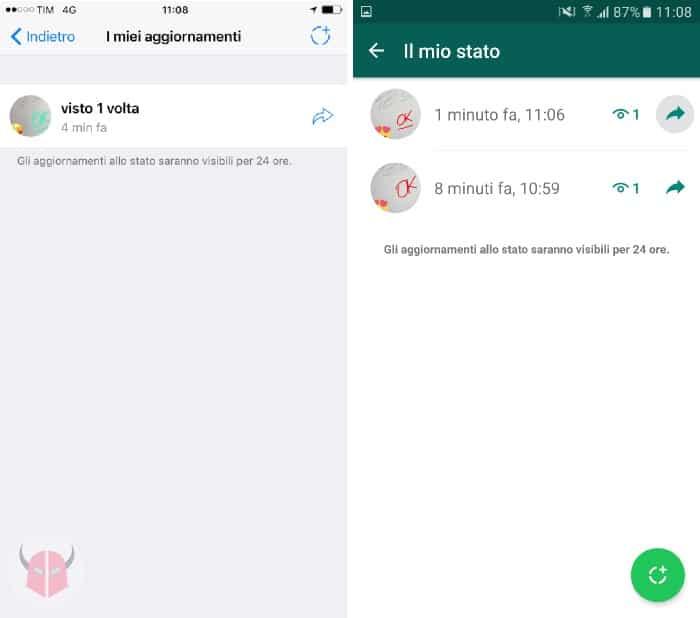 come funzionano le Storie su WhatsApp inoltrare uno Stato iOS e Android