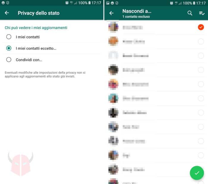come nascondere Stati WhatsApp a una parte dei contatti
