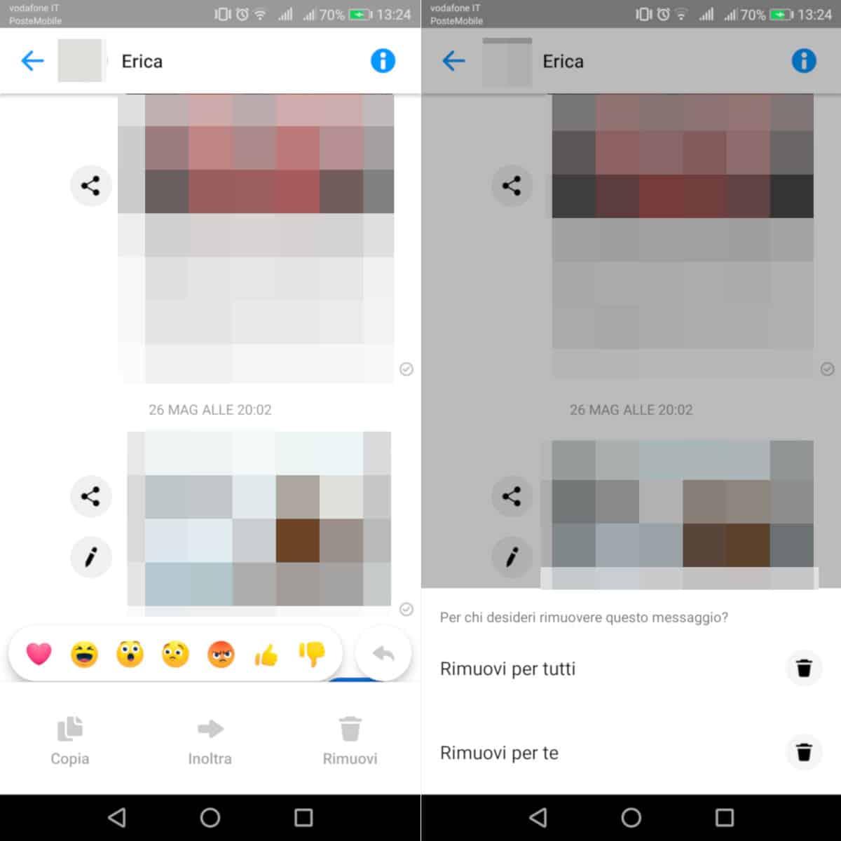 eliminare chat e messaggi da Facebook Messenger opzione Rimuovi per tutti app