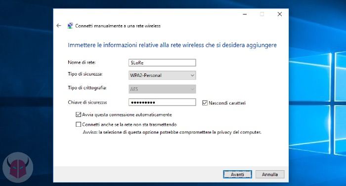 come connettersi a rete WiFi nascosta su Windows 10 configurazione manuale