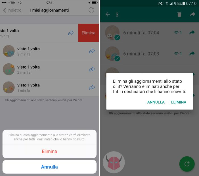 come eliminare Stati WhatsApp iPhone e Android