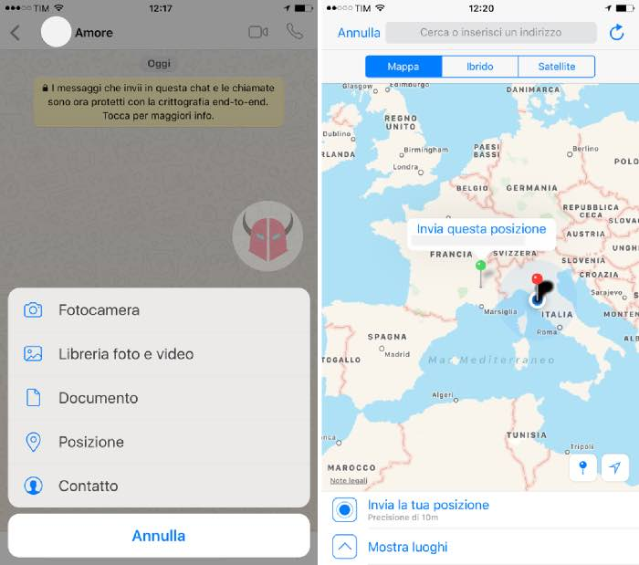 come inviare posizione falsa su WhatsApp con iPhone senza jailbreak