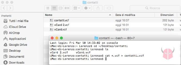 come unire contatti VCF in un unico file con macOS e Linux
