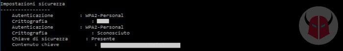 come vedere password WiFi salvate su Windows 10 contenuto chiave cmd