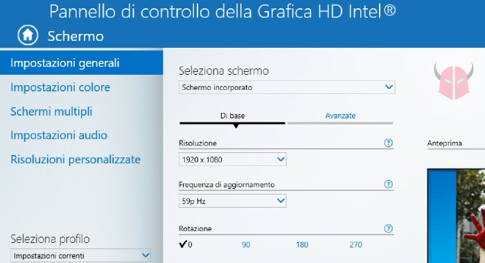 come ruotare lo schermo su Windows 10 Grafica HD Intel