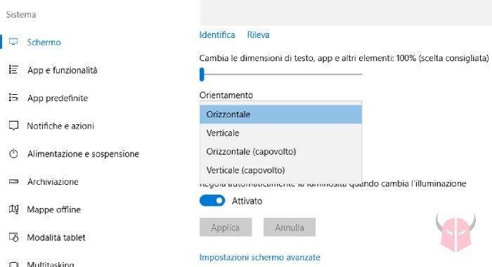 come ruotare lo schermo su Windows 10 impostazioni