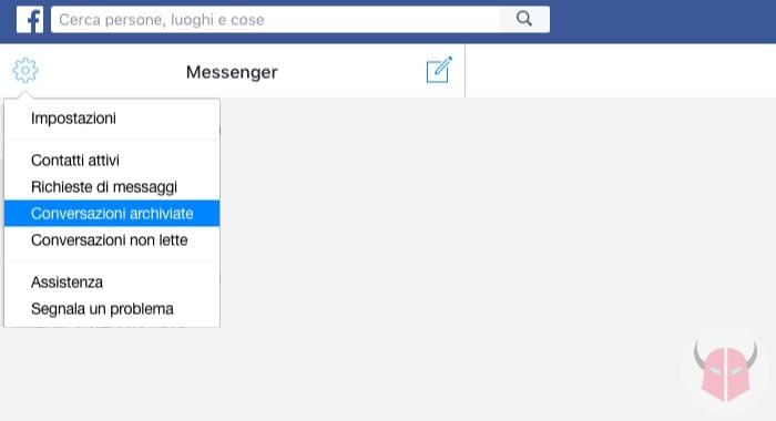 come vedere le chat archiviate su Messenger opzione Conversazioni archiviate Facebook