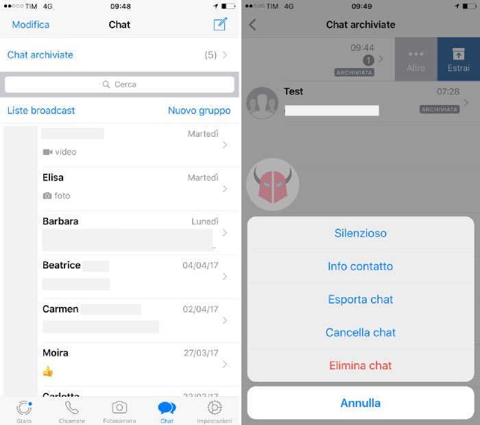 come vedere le chat archiviate su WhatsApp con iPhone