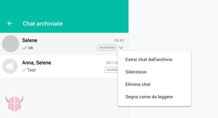Chat WhatsApp archiviate su Android