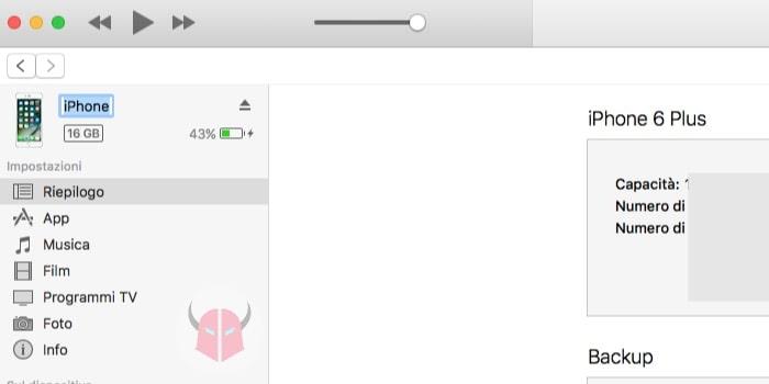 come cambiare il nome dell'iPhone iTunes