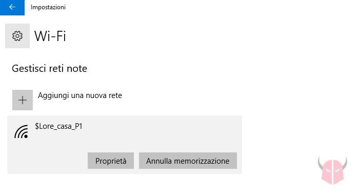 come eliminare una rete WiFi da Windows 10 impostazioni