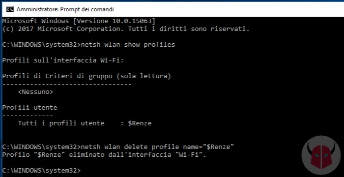 come eliminare una rete WiFi da Windows 10 prompt dei comandi