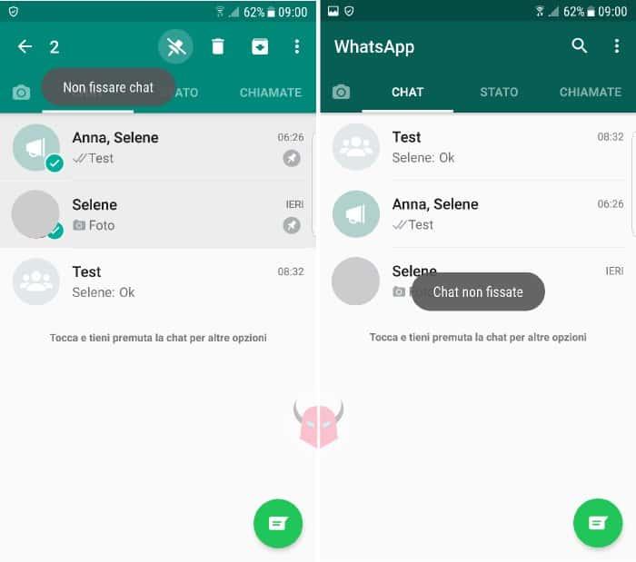 come fissare conversazioni WhatsApp con Android chat non fissate