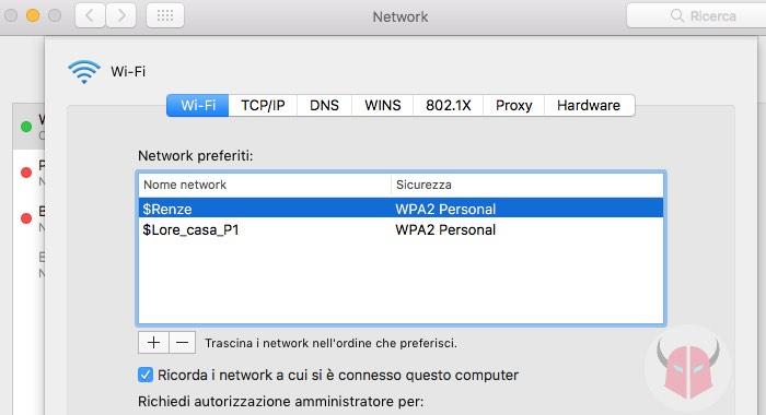 come impostare rete WiFi preferita su Mac Network preferiti