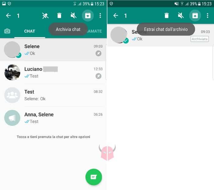 come non fissare chat WhatsApp con Android archiviazione