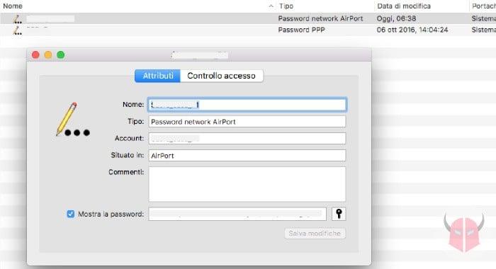 come vedere password WiFi salvate su Mac Accesso Portachiavi