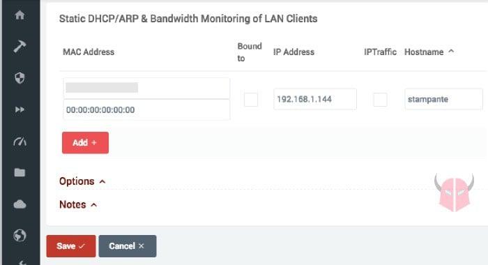 come assegnare un indirizzo IP statico alla stampante DHCP statico router
