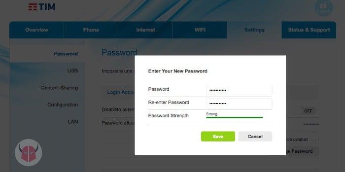come cambiare password al router modifica credenziali modem