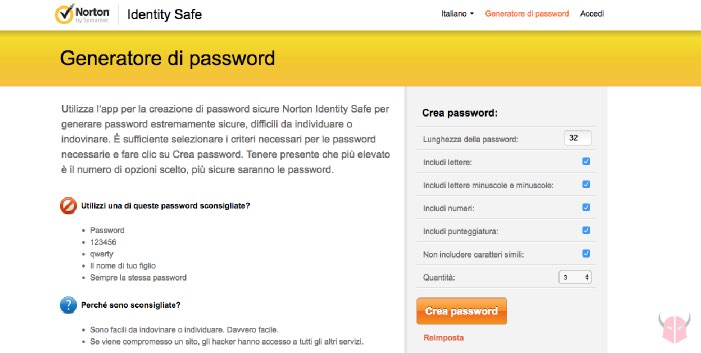 come creare password sicure online Norton Identity Safe