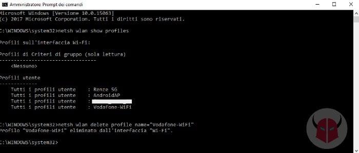 come dimenticare rete WiFi Windows 10 Prompt dei comandi
