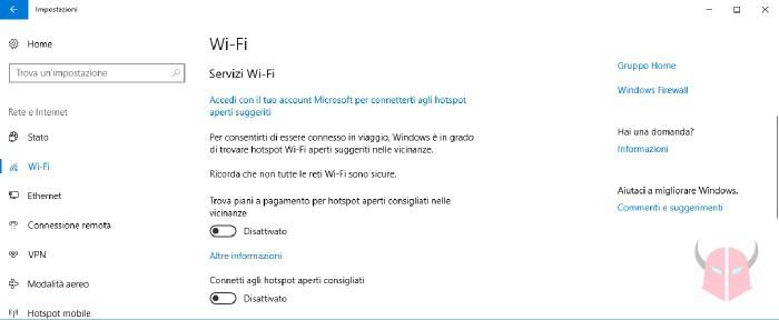 come dimenticare rete WiFi Windows 10 disattivazione WiFi Sense