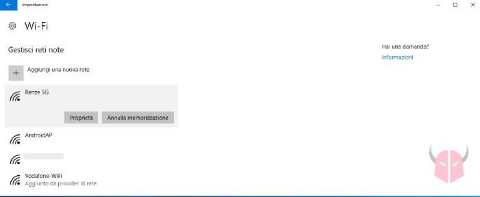 come dimenticare rete WiFi Windows 10 impostazioni