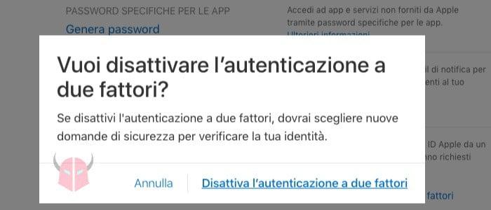 come disattivare autenticazione a due fattori ID Apple pannello di gestione account