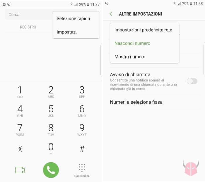 come nascondere numero su Samsung impostazioni chiamata Android