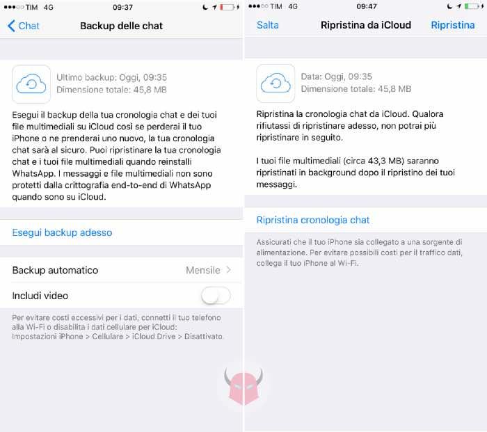 come recuperare i messaggi cancellati su WhatsApp iPhone iCloud Drive