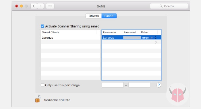 come si fa lo scanner con la stampante USB Mac TWAIN SANE