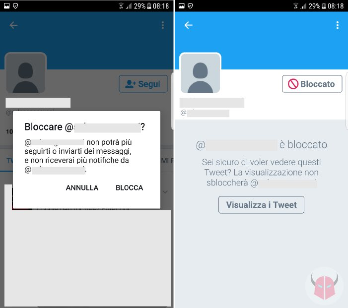 come bloccare un follower su Twitter con Android