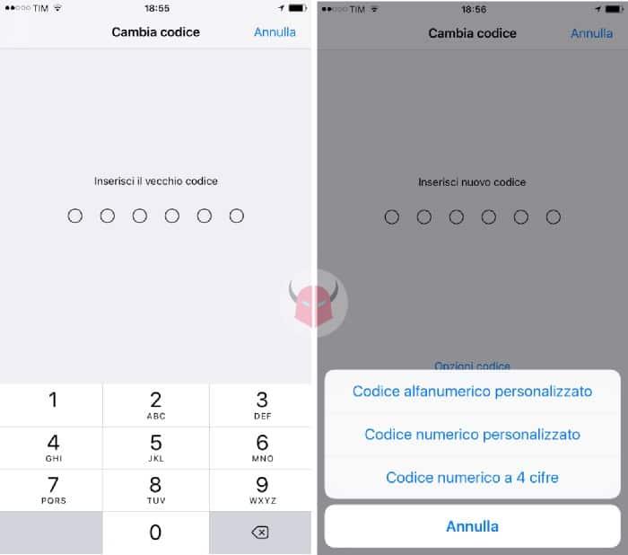 come cambiare codice sicurezza iPhone Opzioni codice